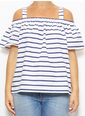 kate spade new york Stripe Cotton Cold Shoulder Top laura of pembroke