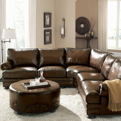 Laura of Pembroke leather sectional blog
