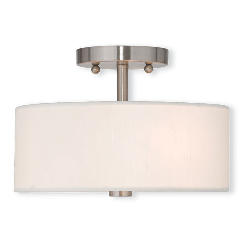 Brushed Nickel with Fabric Shade Small Ceiling Mount