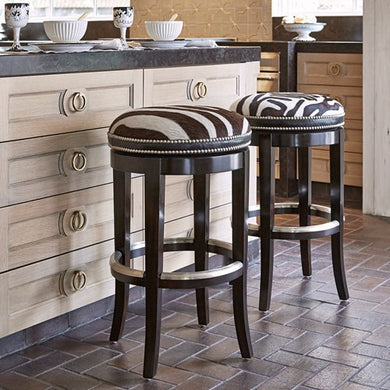 Backless Zebra Swivel Barstool, Home Furnishings, Laura of Pembroke