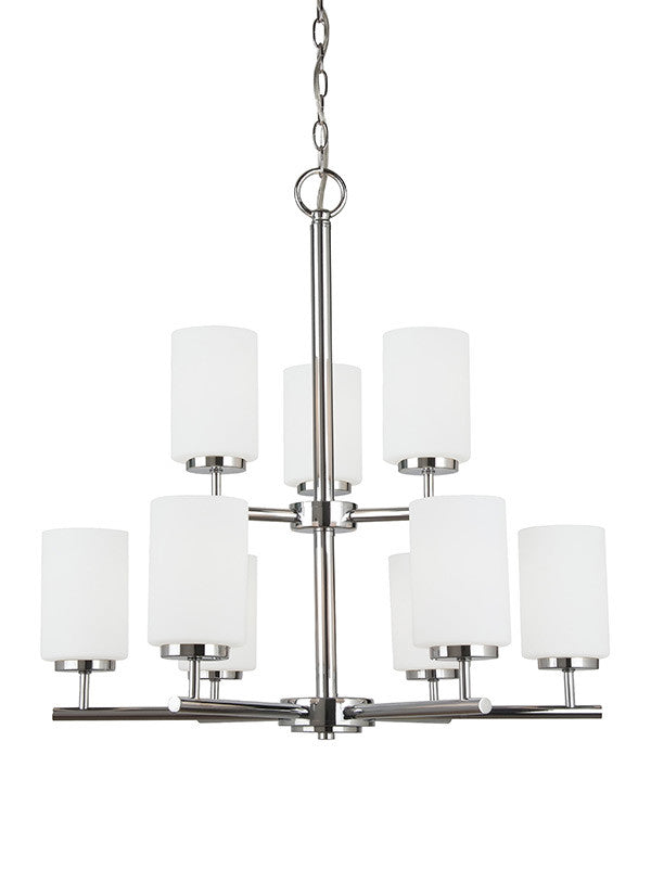 Sleek Chrome 9 Light Chandelier, Lighting, Laura of Pembroke