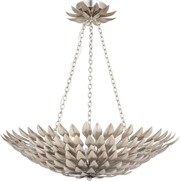 Silver Leaf 6 Light Pendant Chandelier, Lighting, Laura of Pembroke
