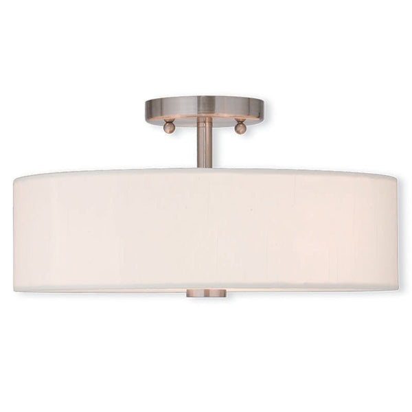 Brushed Nickel with Fabric Shade Medium Ceiling Mount, Lighting, Laura of Pembroke