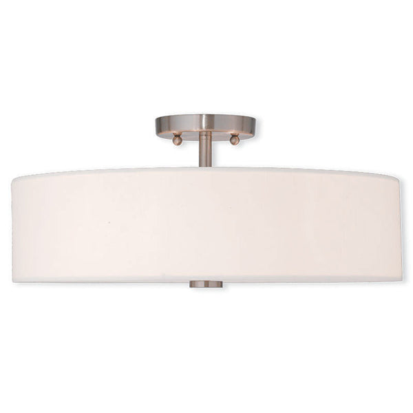 Brushed Nickel with Fabric Shade Large Ceiling Mount