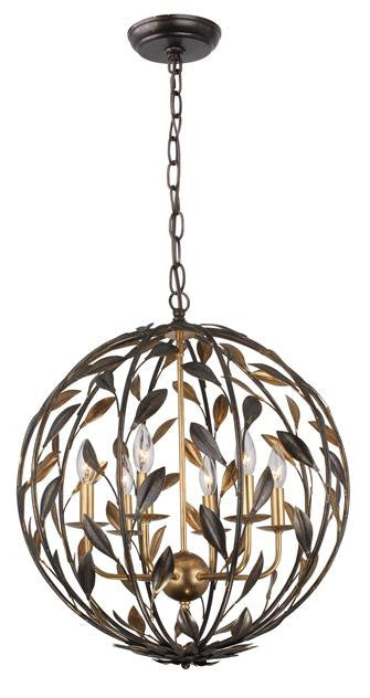 Bronze Leaf 6 Light Sphere Mini Chandelier