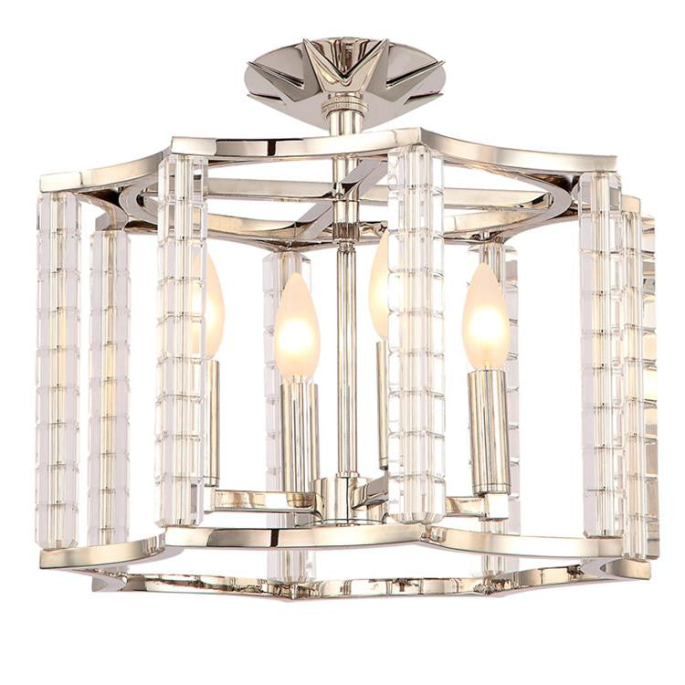 Polished Nickel 4 light Convertible Ceiling Mount, Lighting, Laura of Pembroke