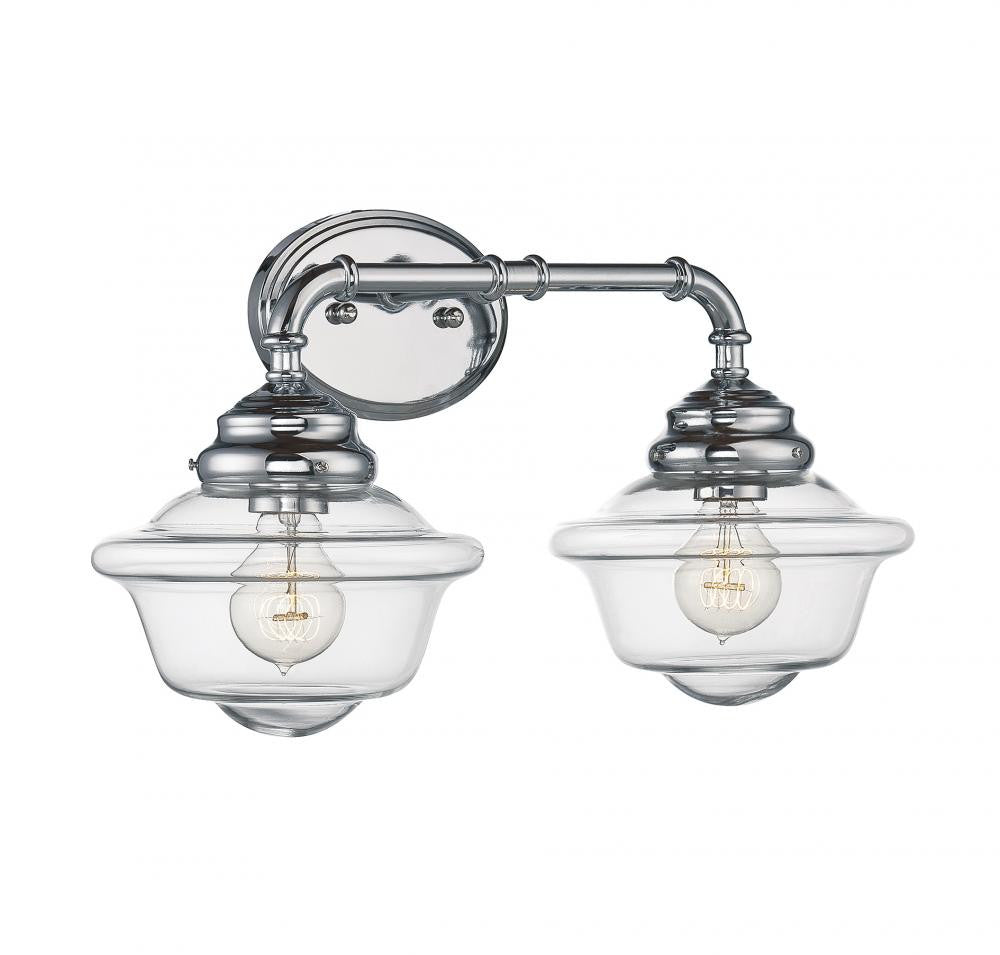 Chrome Schoolhouse 2 Light Bathroom Fixture
