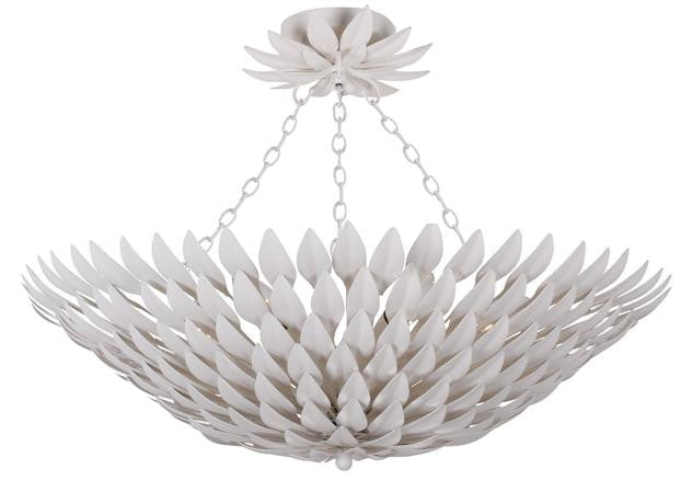 Matte White Leaf 6 Light Ceiling Mount, Lighting, Laura of Pembroke