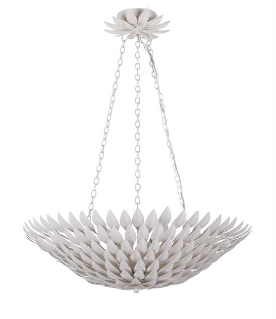 Matte White Leaf 6 Light Pendant Chandelier