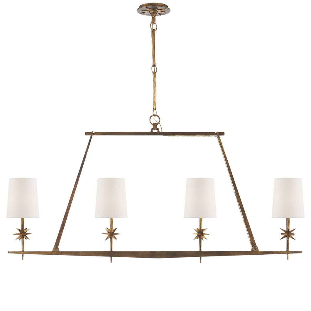 Gilded Iron 4 Light Star Linear Chandelier