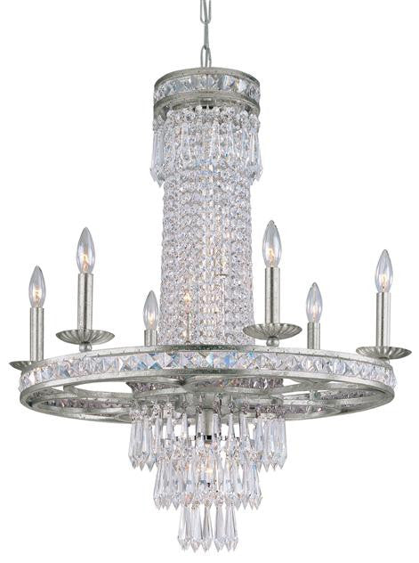 10 Light Crystal Silver Chandelier