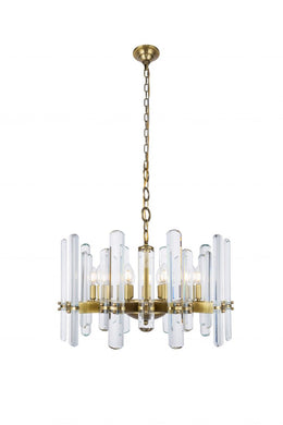 10 light Burnished Brass Chandelier Clear Royal Cut Crystal