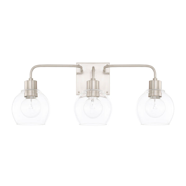 Tanner Brushed Nickel 3 Light Vanity Light