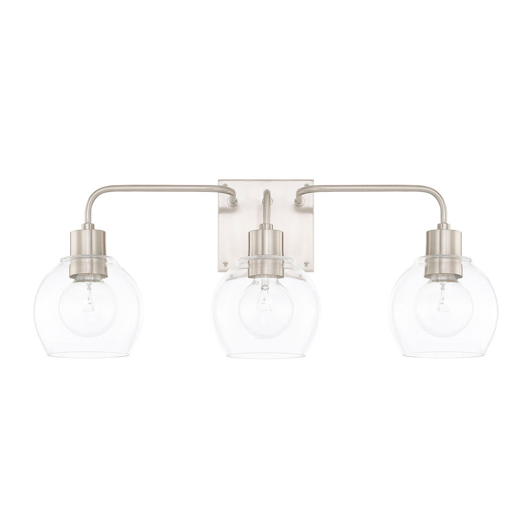 Tanner Brushed Nickel 3 Light Vanity Light, Lighting, Laura of Pembroke