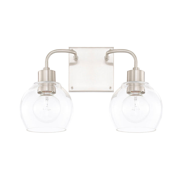 Tanner Brushed Nickel 2 Light Vanity Light