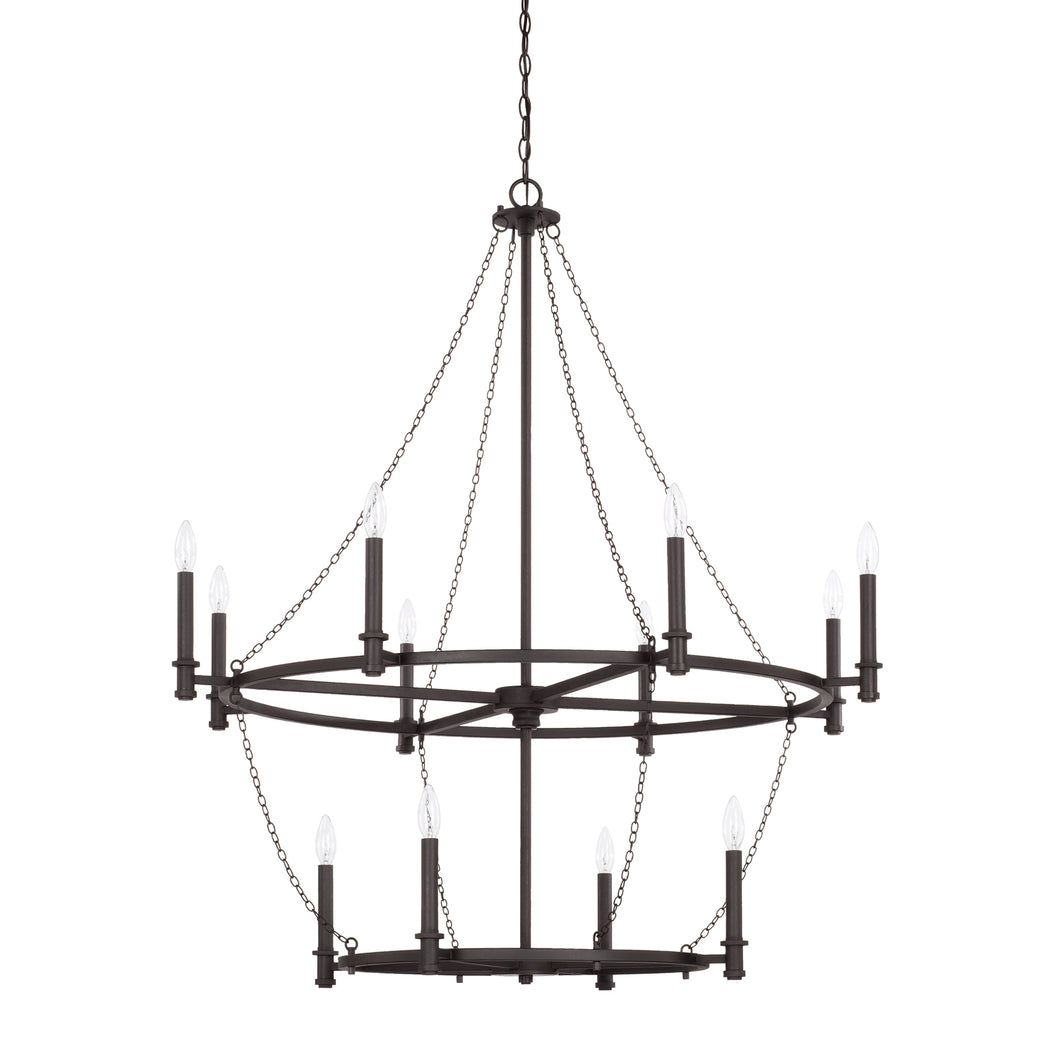 Lancaster Black Iron 12 Light Chandelier, Lighting, Laura of Pembroke
