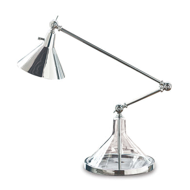 Polished Nickel Glass Funnel Beaker Task Lamp, Home Accessories, Laura of Pembroke