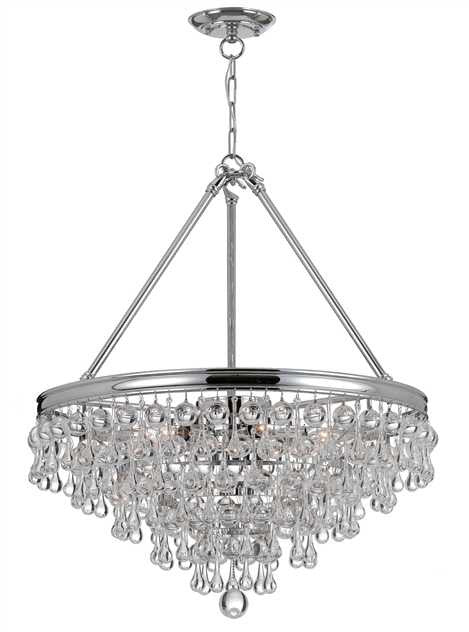 Crystal Teardrop 8 Light Chrome Chandelier, Lighting, Laura of Pembroke