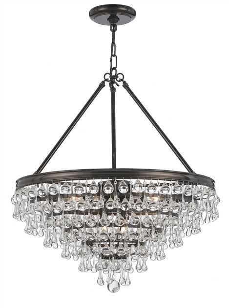 Crystal Teardrop 8 Light Bronze Chandelier, Lighting, Laura of Pembroke