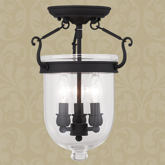 Black 3 Light Ceiling Mount, Lighting, Laura of Pembroke