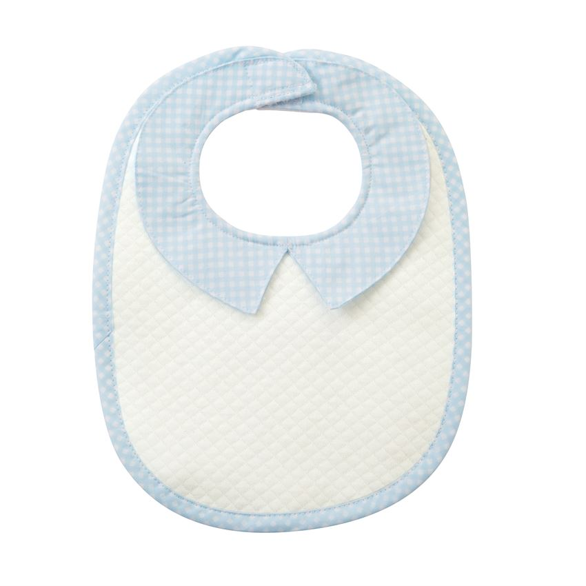 Blue Quilted Monogram Bib
