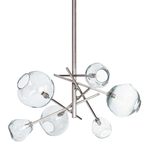 Polished Nickel Molten Chandelier with Clear Glass
