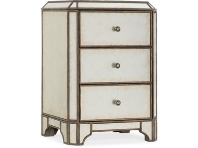 Arabella Mirrored Three-Drawer Nightstand, Home Furnishings, Laura of Pembroke