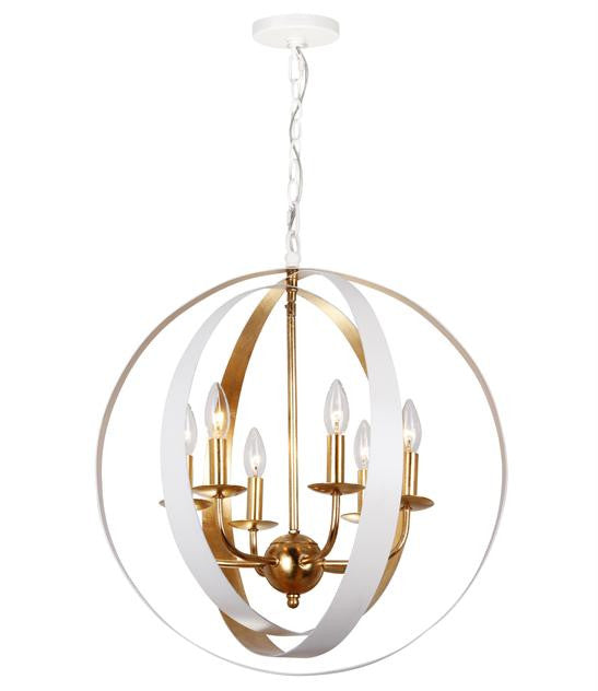 White & Gold Sphere 6 Light Large Chandelier, Lighting, Laura of Pembroke