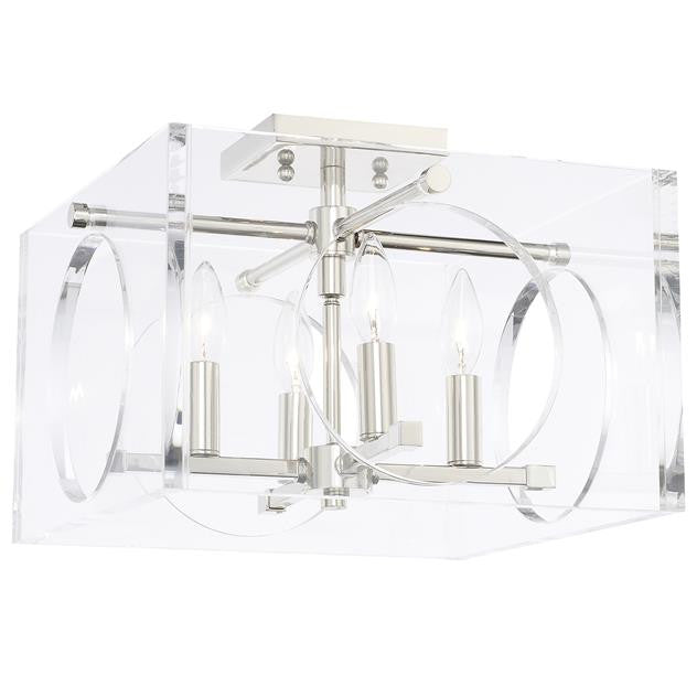 4 Light Lucite and Polished Nickel Ceiling Mount