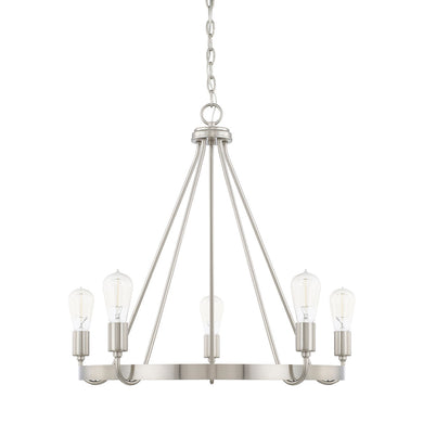 Tanner Brushed Nickel 5 Light Chandelier