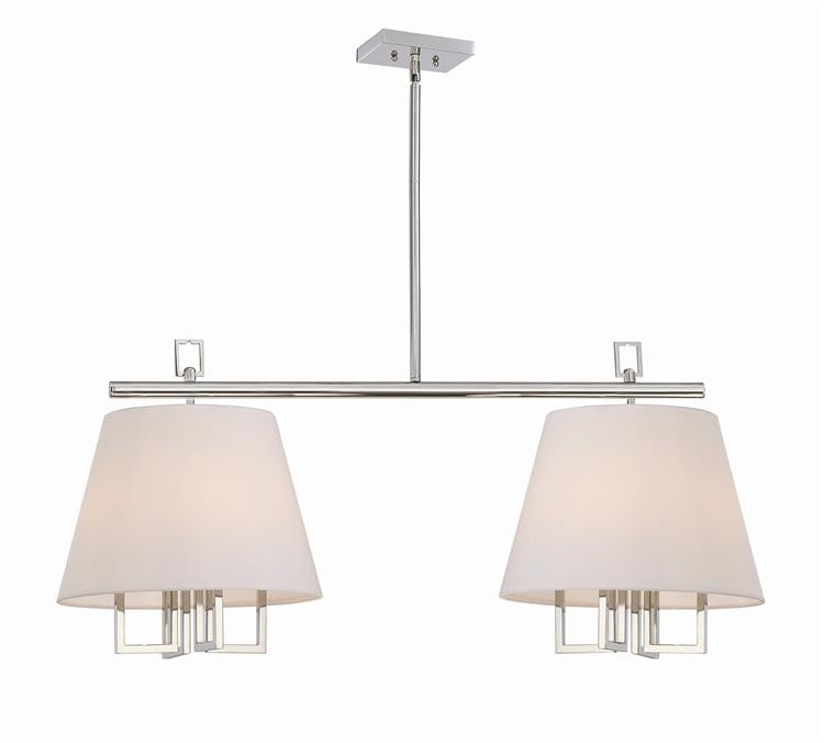 8 Light Polished Nickel Double Pendant, Lighting, Laura of Pembroke