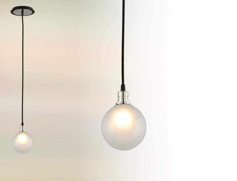 Black and Polished Nickel Modern Mini Pendant, Lighting, Laura of Pembroke