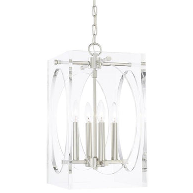 4 Light Lucite and Polished Nickel Chandelier