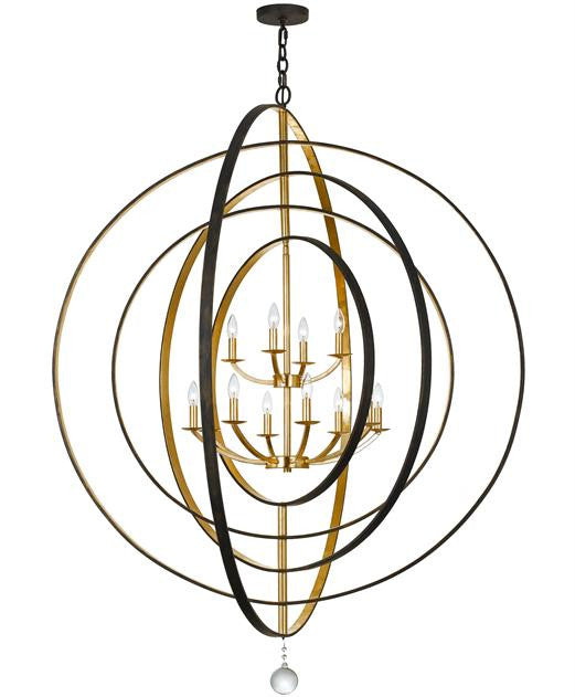 Bronze & Gold Sphere 12 Light Chandelier