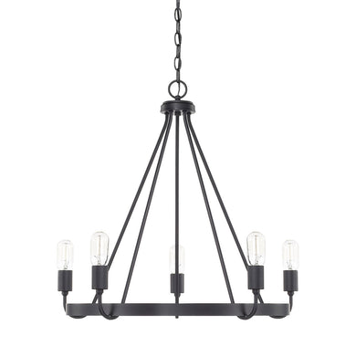 Tanner Matte Black 5 Light Chandelier
