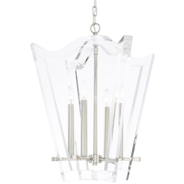 Curved 4 Light Lucite and Polished Nickel Chandelier Laura of