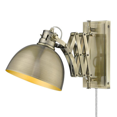 1 Light Articulating Wall Sconce-Aged Brass Shade
