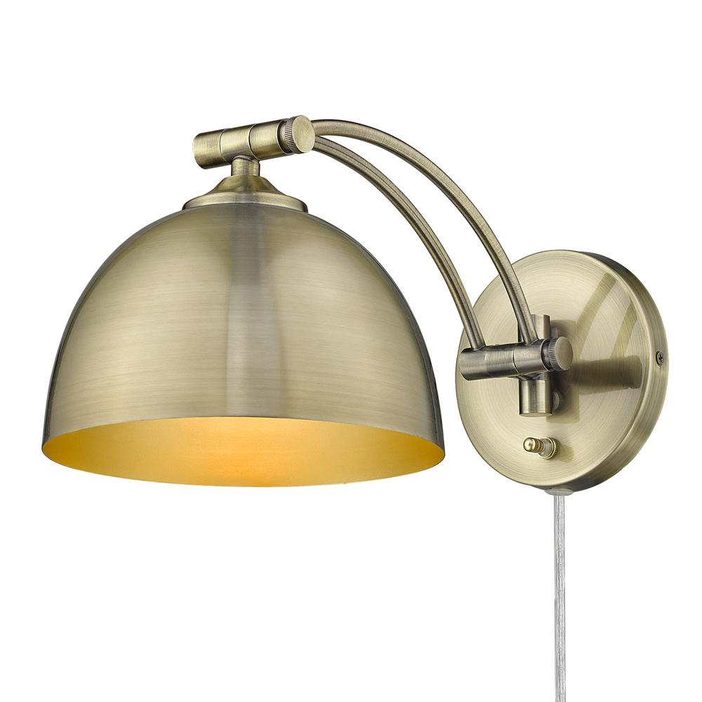 1 Light Articulating Wall Sconce-Brass Shade