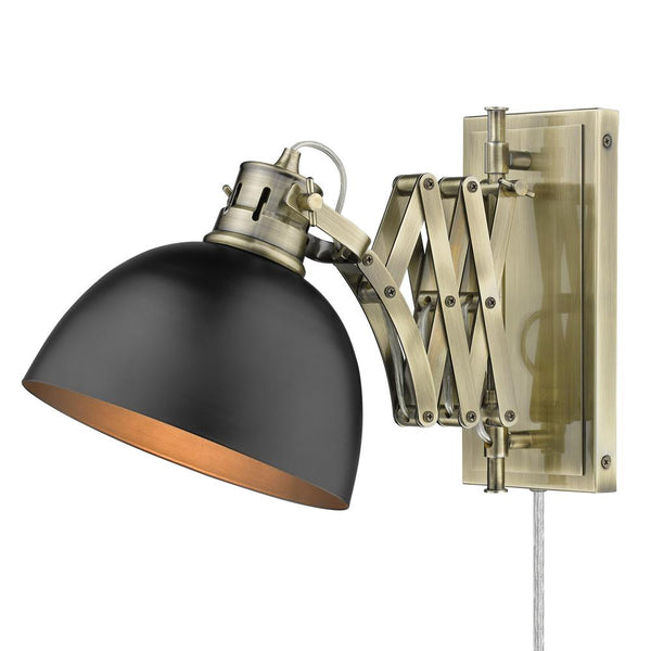 1 Light Articulating Wall Sconce-Matte Black Shade