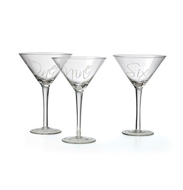 Etched Number Martini Glasses, Gifts, Laura of Pembroke