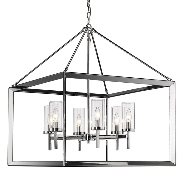 Smyth 6 Light Chandelier in Chrome with Clear Glass