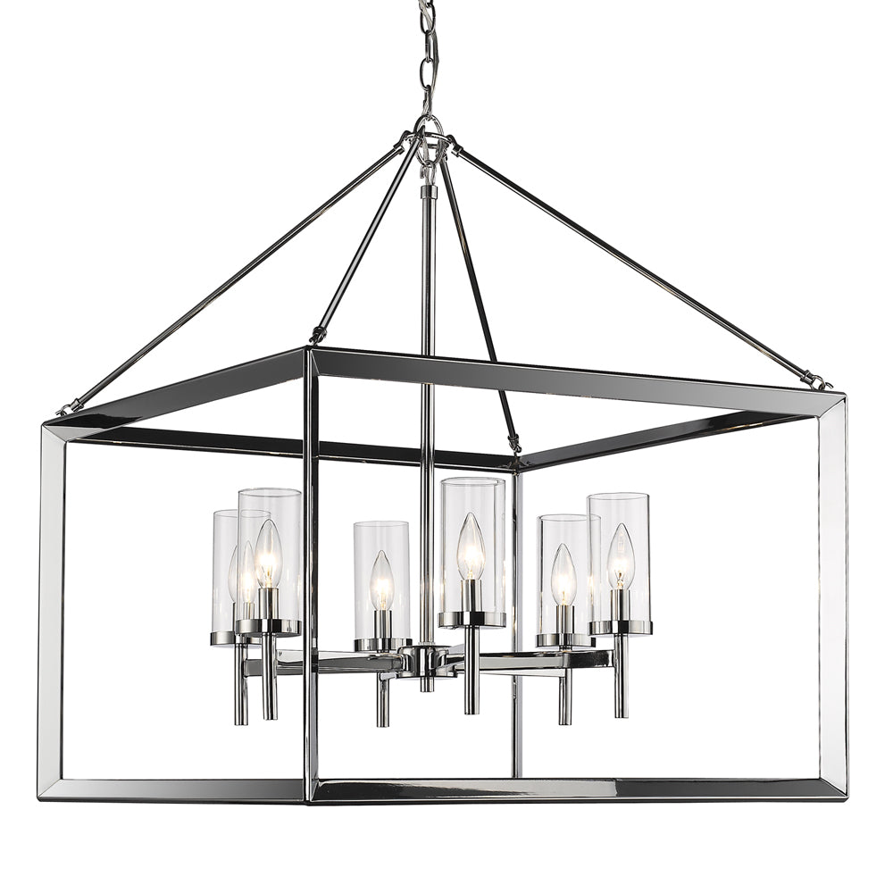 Smyth 6 Light Chandelier in Chrome with Clear Glass, Lighting, Laura of Pembroke