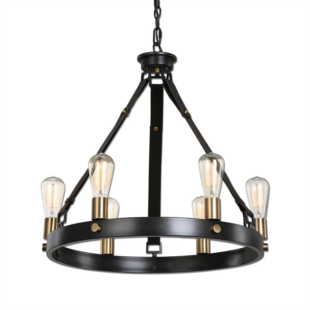 6 Light Leather Strap Chandelier, Lighting, Laura of Pembroke