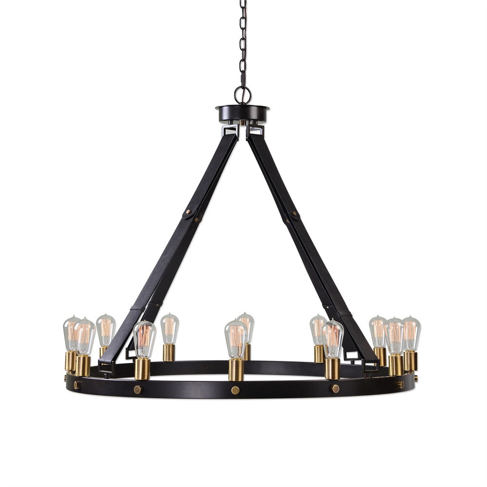 12 Light Leather Strap Chandelier, Lighting, Laura of Pembroke