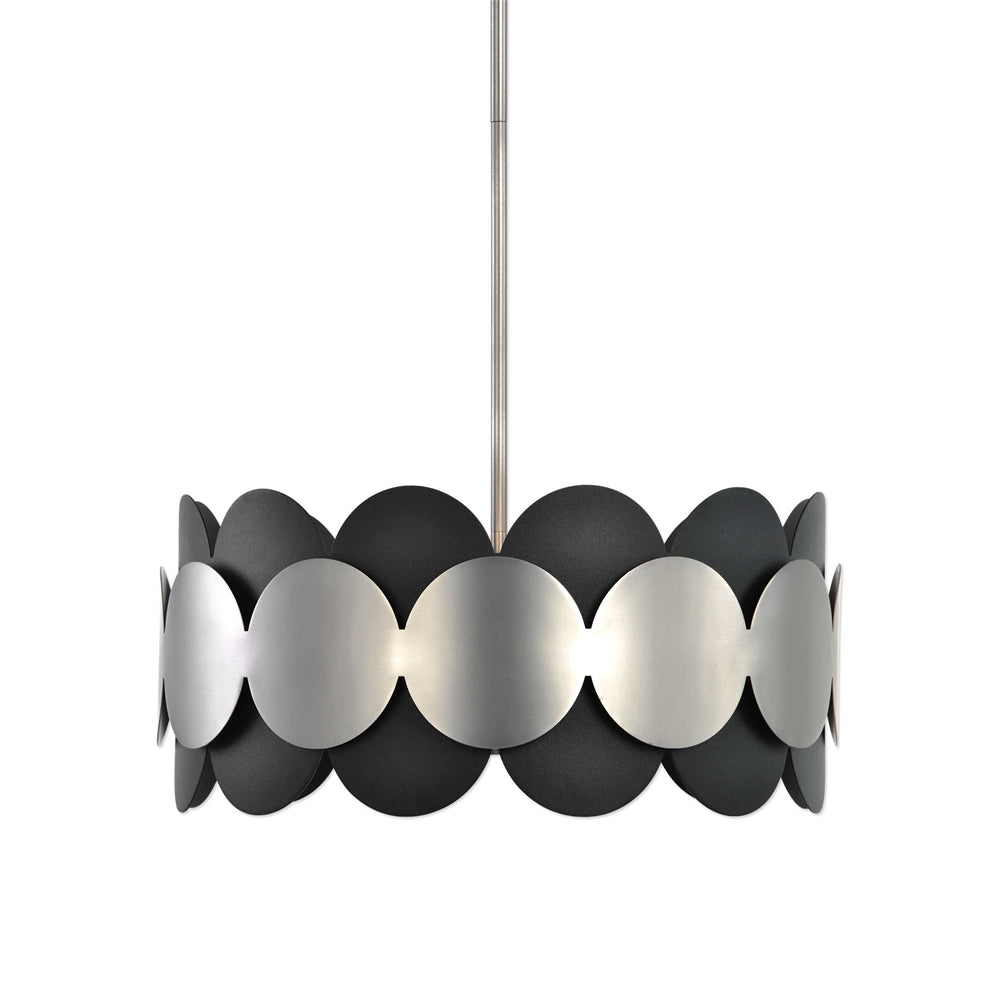 Black and Satin Nickel Circles Pendant