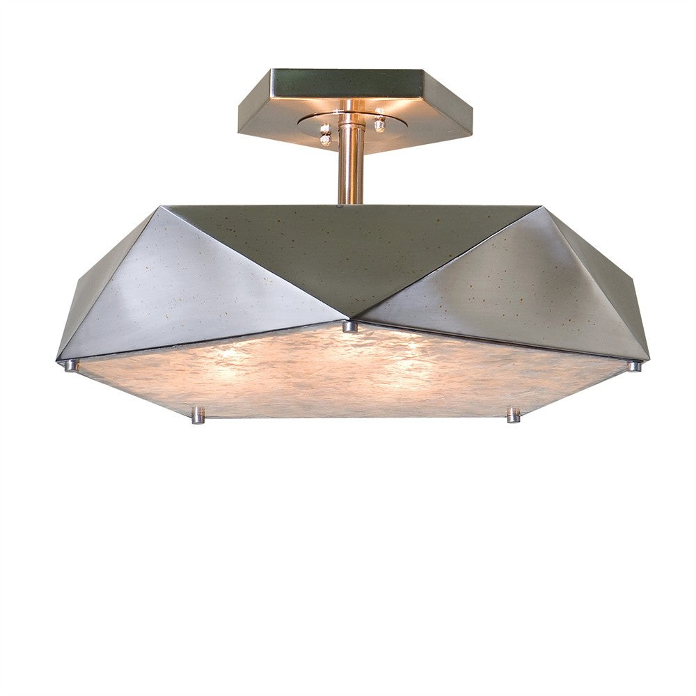 Antique Nickel Semi Flush with Diffuser