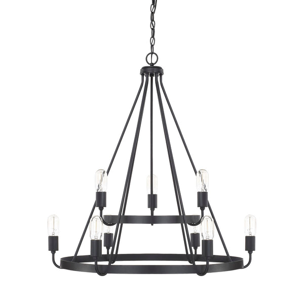 Tanner Matte Black 9 Light Chandelier