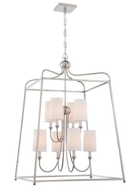 Polished Nickel 8 Light Lantern Chandelier, Lighting, Laura of Pembroke