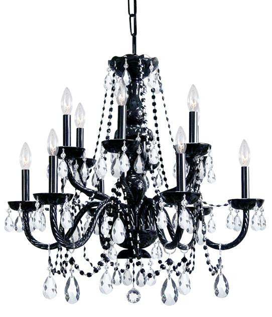 12 Light Black Crystal Chandelier, Lighting, Laura of Pembroke