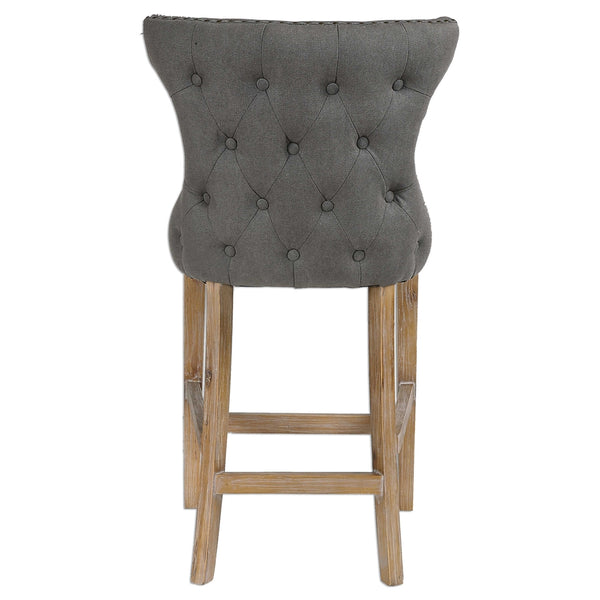 Stonewashed Gray Linen Counter Stool